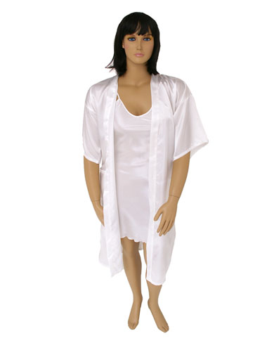 Long Satin Kimono and Nightie Set
