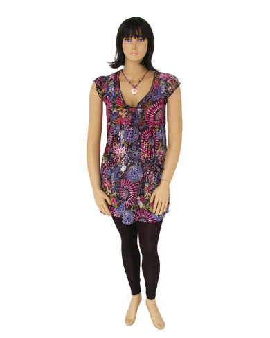 Cap Sleeve Holi Print Dress