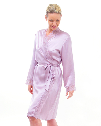 Lace Trimmed Short Silk Dressing Gown