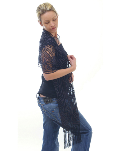 Silk Long Lace Scarf With Fringe